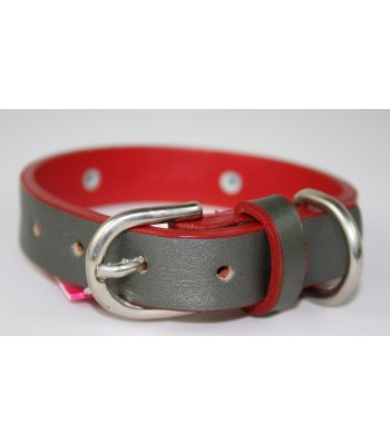 "Red Stars in Silver Leather Small Collar 3/4""x14"""